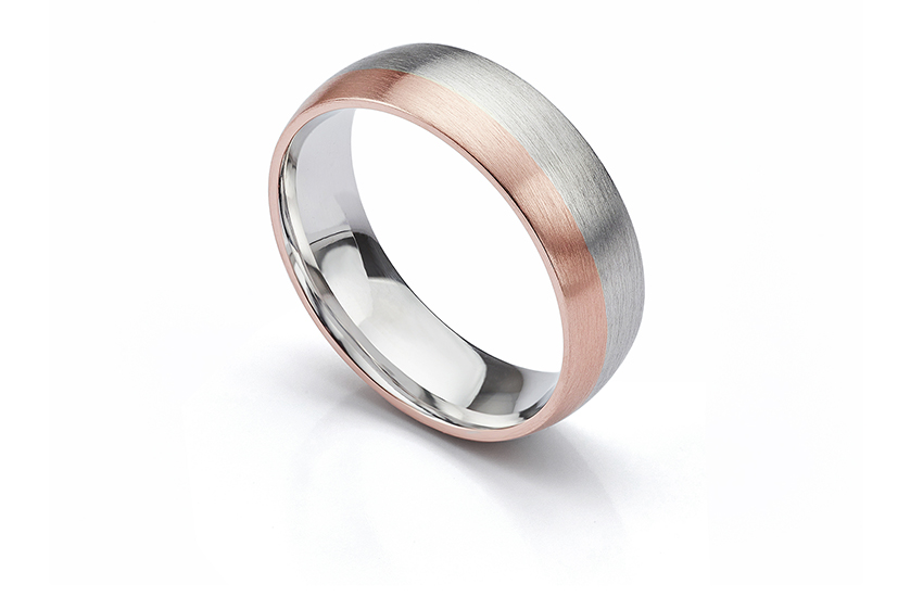 Men's Rose and White Gold Matte Finished Wedding Ring