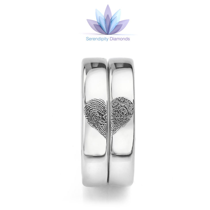 Heart fingerprint wedding rings