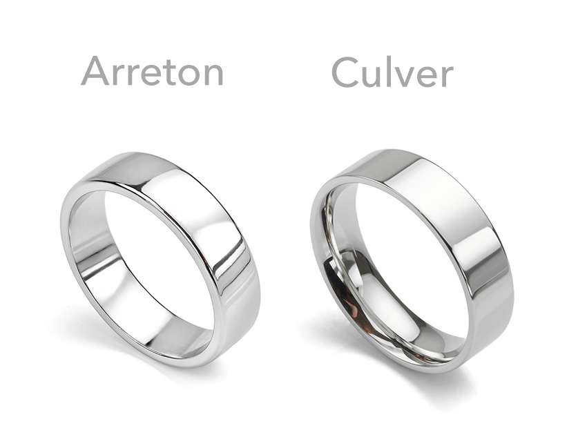 Two styles of plain wedding rings perfect for heart patterned fingerprint wedding rings