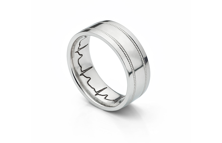Men's wide patterned heartbeat wedding ring one of our trending wedding ring ideas