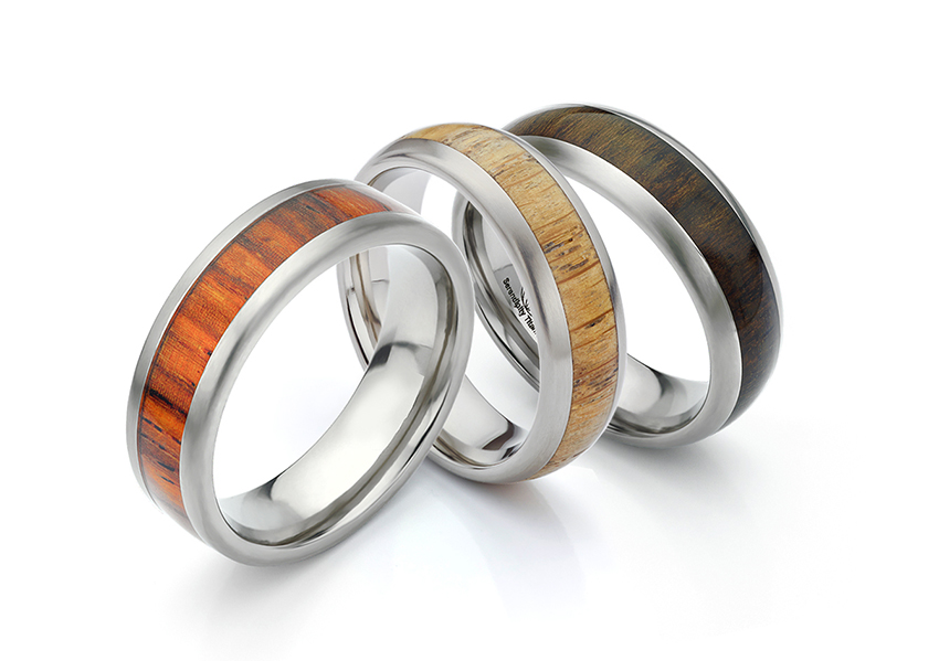 Wood wedding rings, crafted in Titanium, inlaid with wood