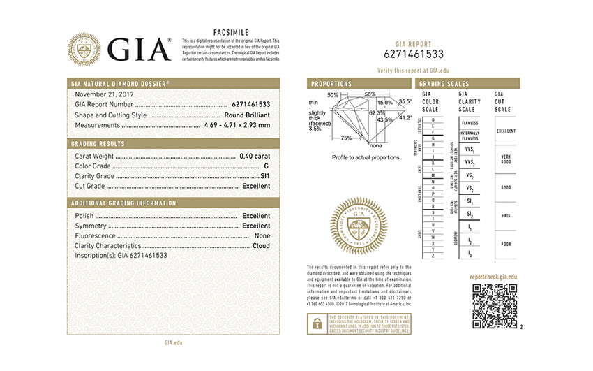 Example of a GIA diamond report check PDF download