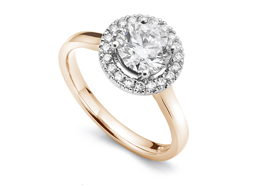 Eleanor halo setting in Rose Gold shown with a 2 carat diamond
