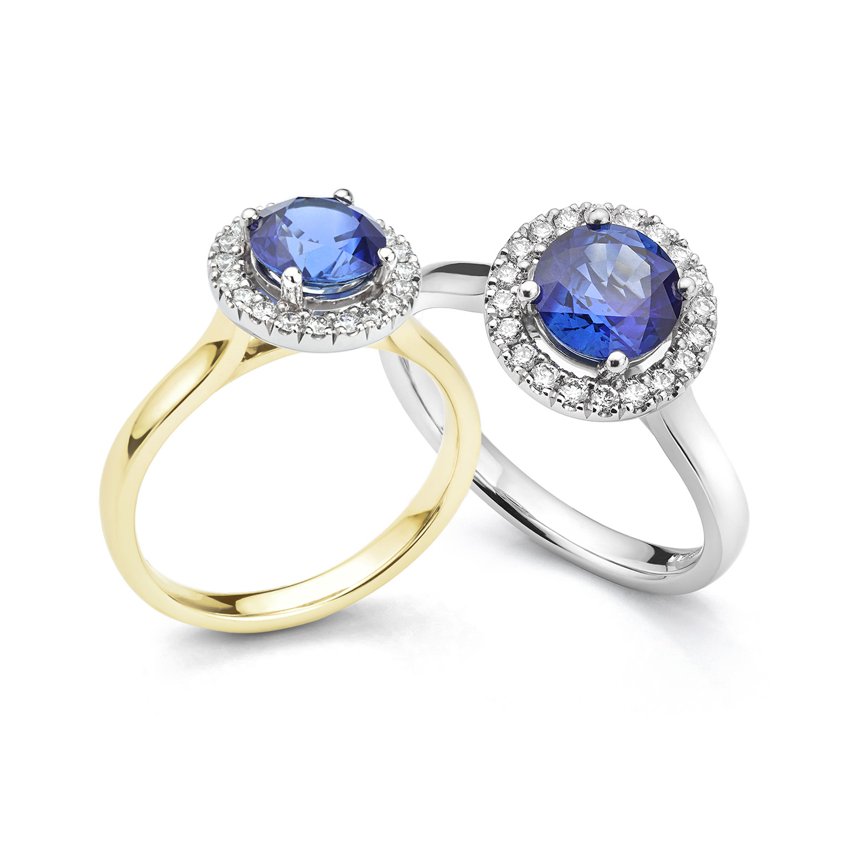 September blue Sapphire birthstone halo engagement rings