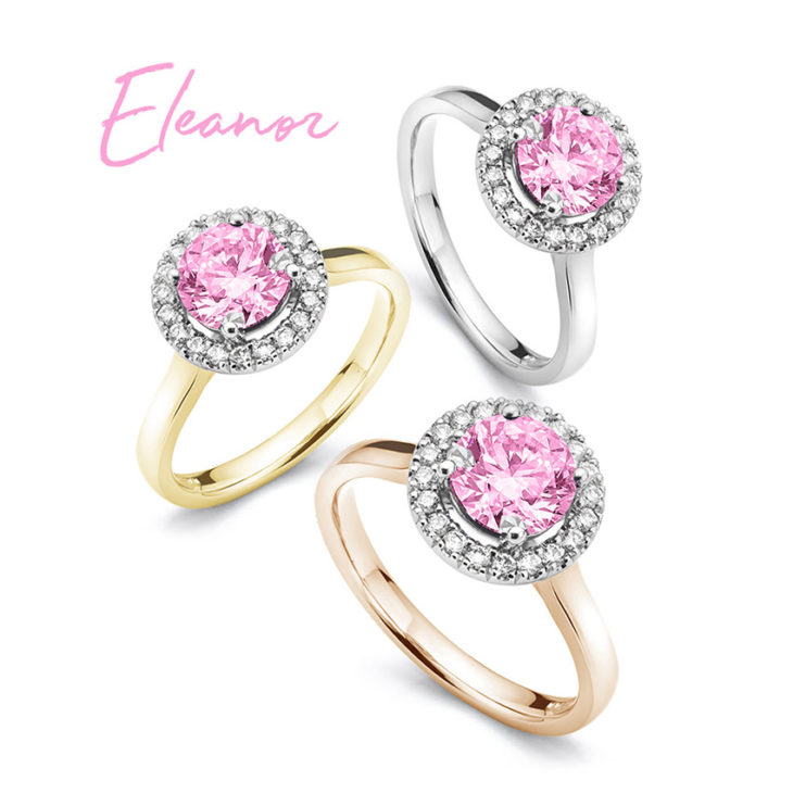 Pink sapphire halo engagement rings perfect for September