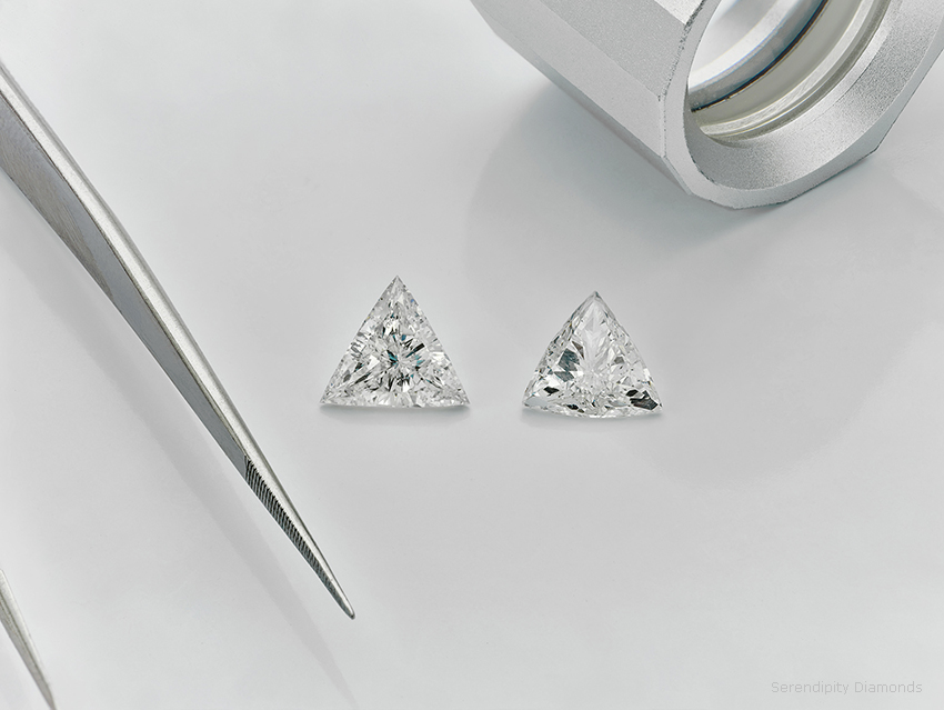 Straight sided and curved sided Trilliant cut diamonds