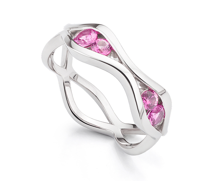 Bespoke Pink Sapphire Wave Eternity Ring