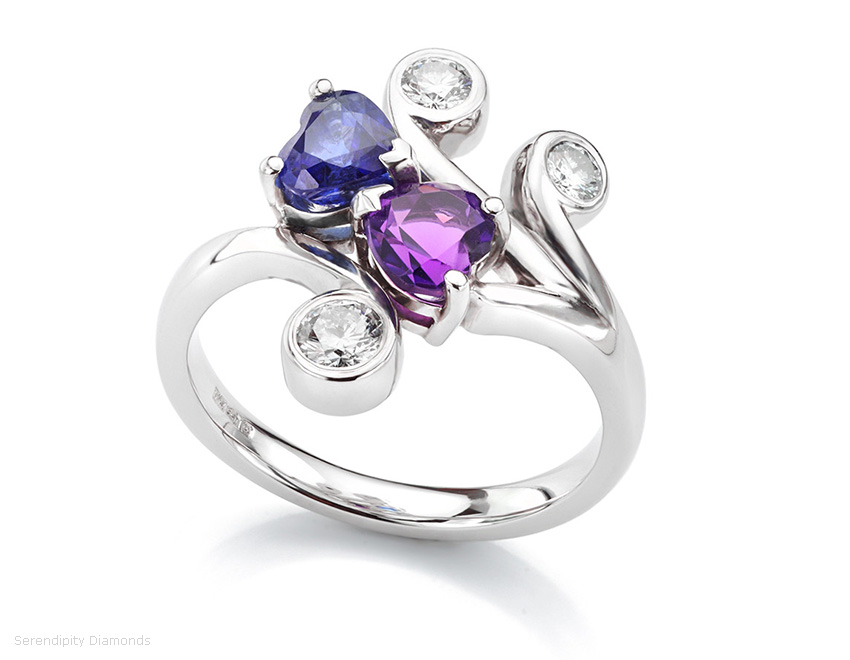 Amethyst, diamond and blue sapphire engagement ring