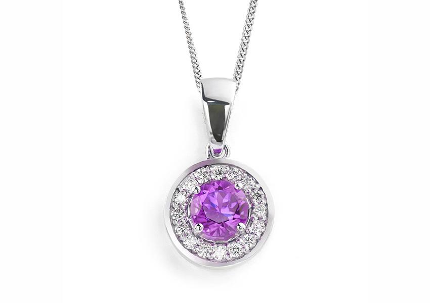 Amethyst and diamond halo pendant from Serendipity Diamonds