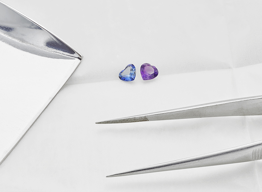 Amethyst and Sapphire Heart Shapes