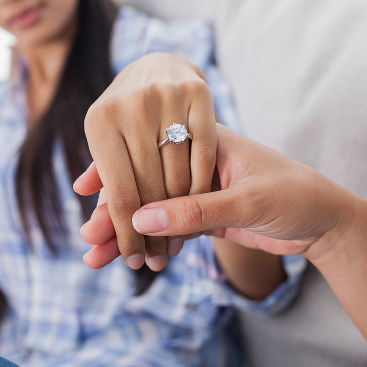 Engagement ring worn on the correct hand and finger
