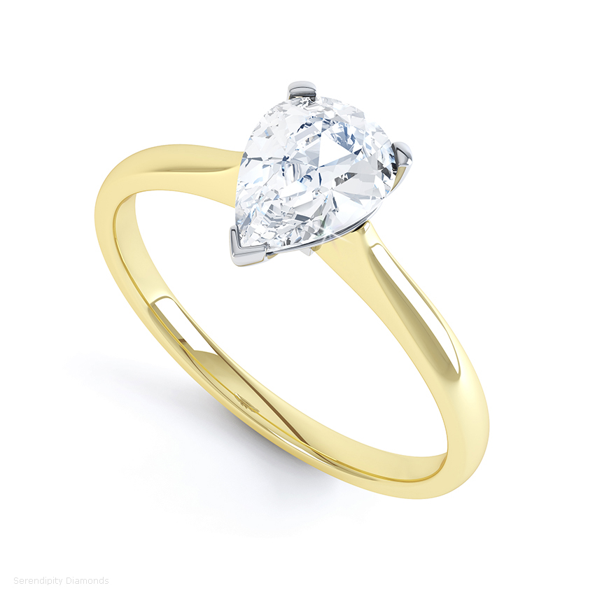 Simple pear-shaped solitaire engagement ring in yellow gold with a wedding ring friendly setting
