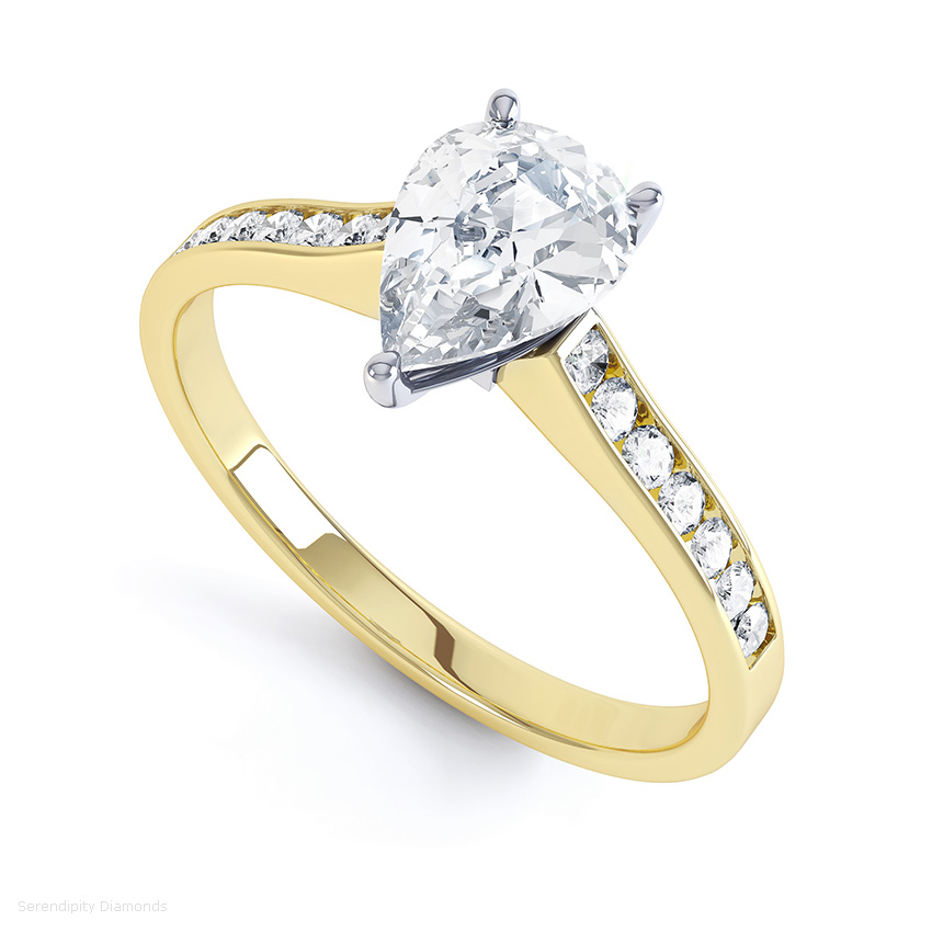 Yellow gold pear shaped engagement rings with diamond shoulders