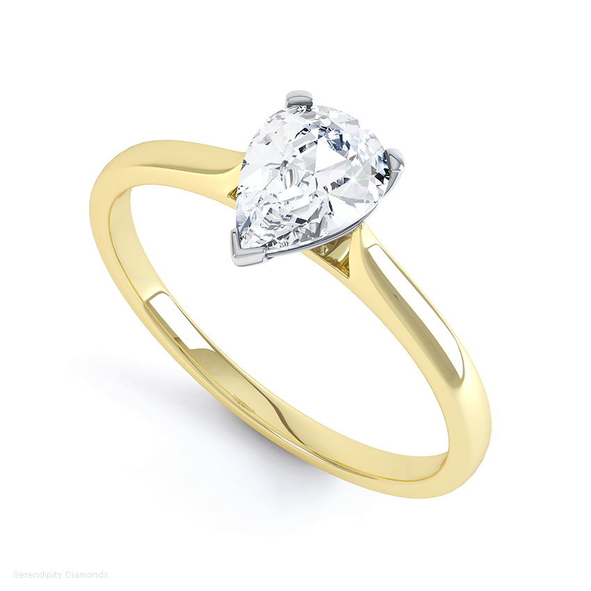 The Pria engagement ring features a Pear shaped diamond with open shoulders available in 18ct yellow gold