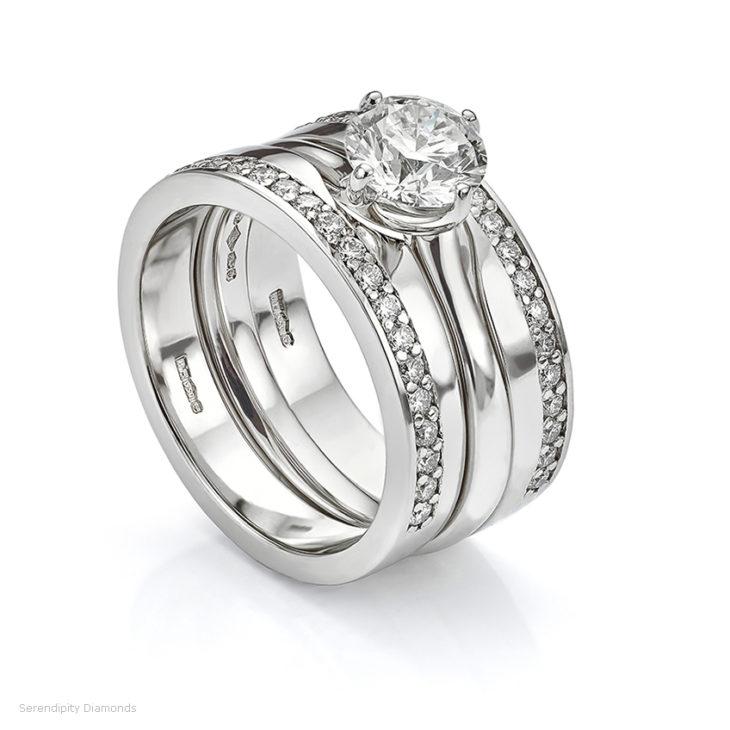Platinum diamond engagement ring and wedding ring set