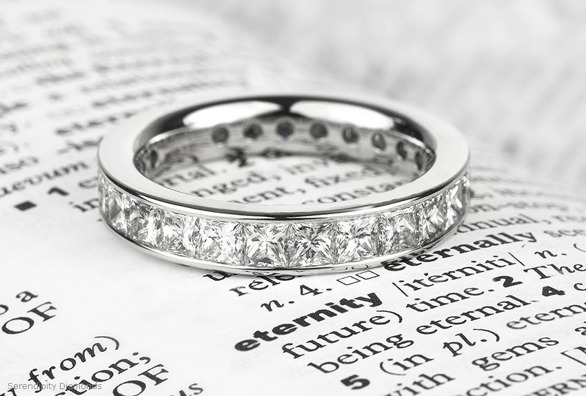 Princess cut diamond eternity ring on page