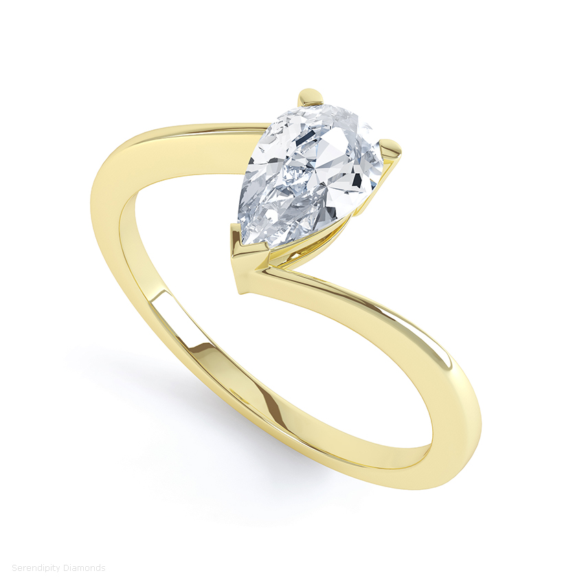 Yellow gold pear shaped engagement ring with a twist setting