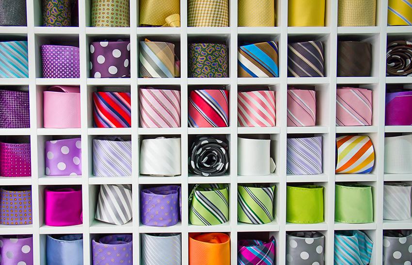 coloured neckties including purple ties
