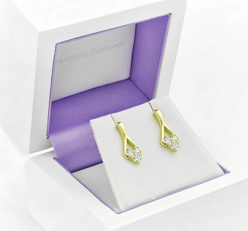 Three stone diamond Trilogy earrings.