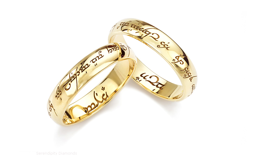 Lord Of The Rings Wedding Rings Platinum Yellow Gold