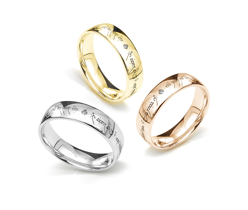 Group of Elvish engraved wedding rings in a Lord of the Rings theme.