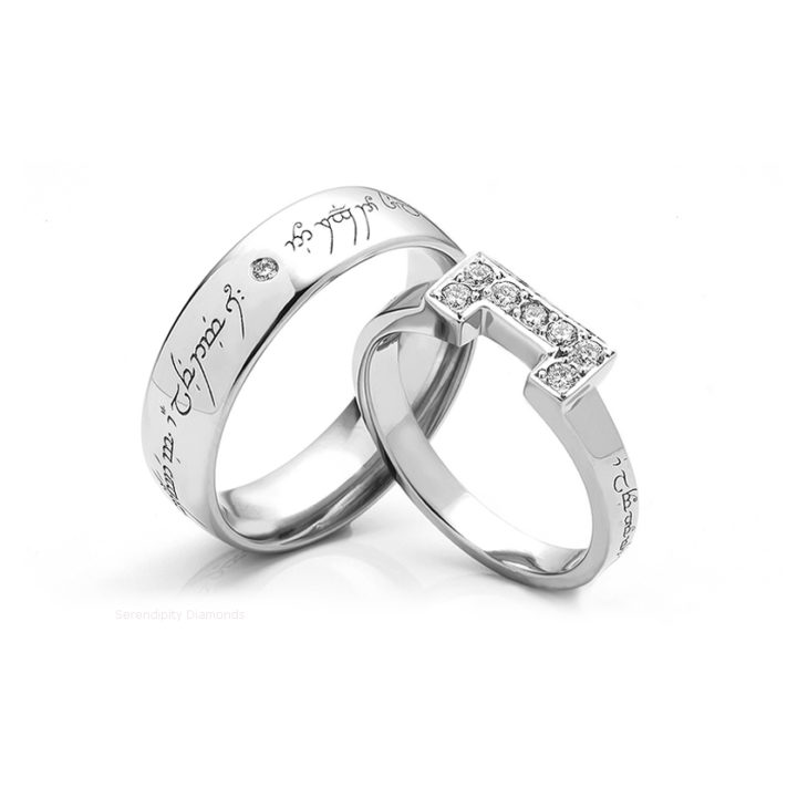 Lord of the Rings Wedding Rings   Platinum & Yellow Gold