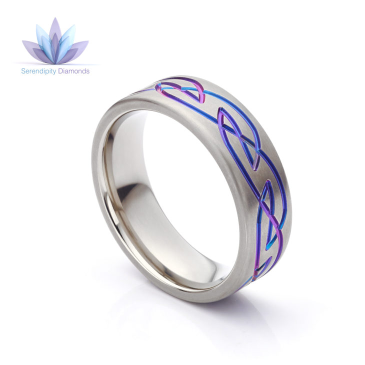 Purple wedding ring with Celtic design anodized within Zirconium