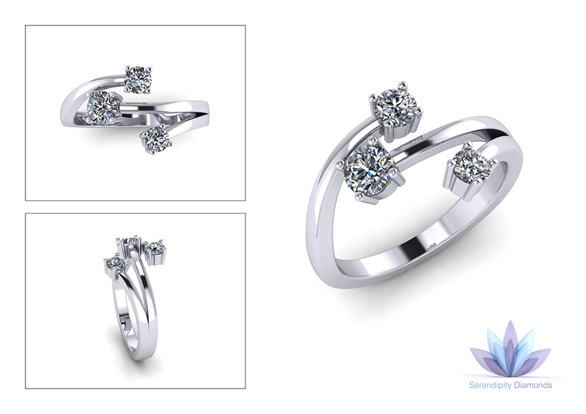 Cad designed 3 stone diamond ring with swirls