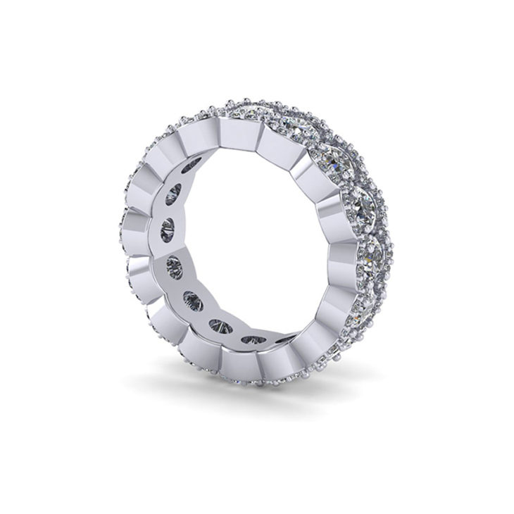 CAD diamond eternity ring side view