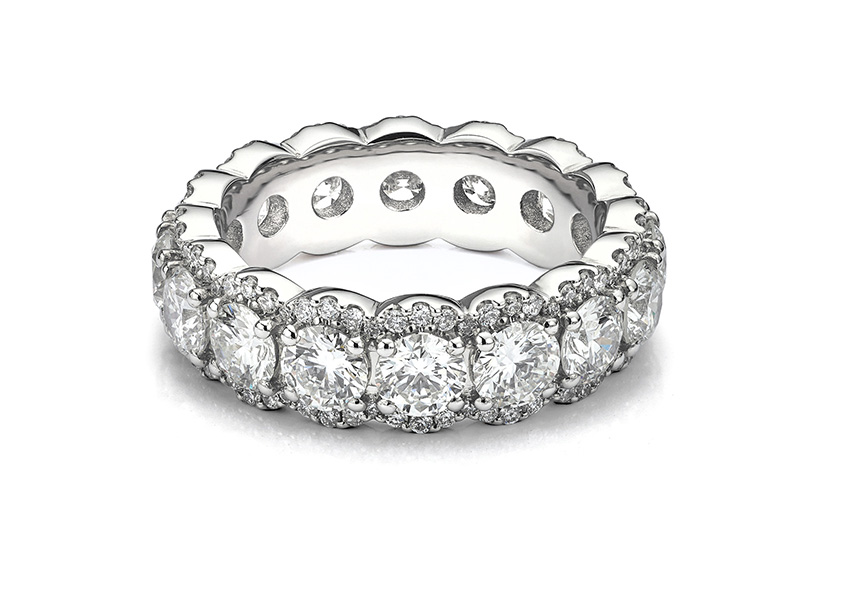 Diamond encrusted eternity ring in Platinum