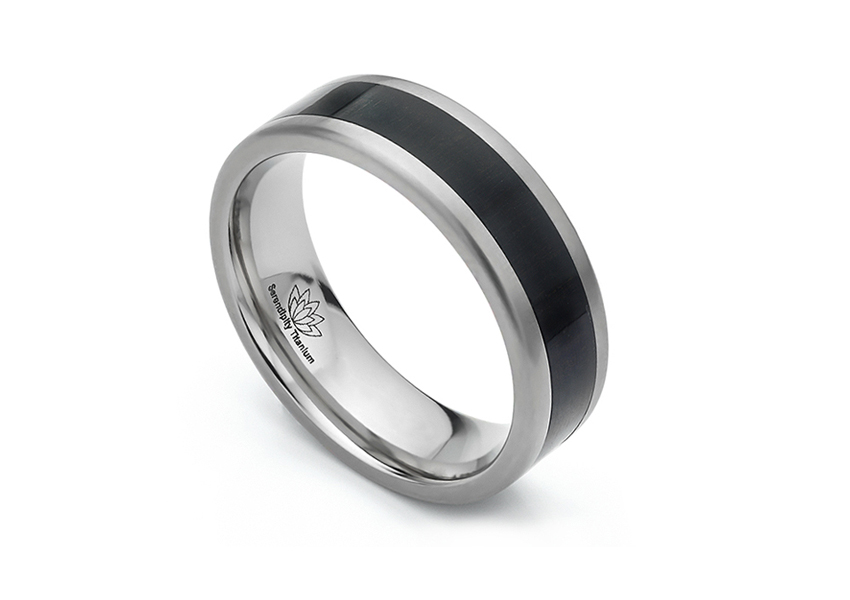 Ebony black wedding ring for men or women with black wood inlay