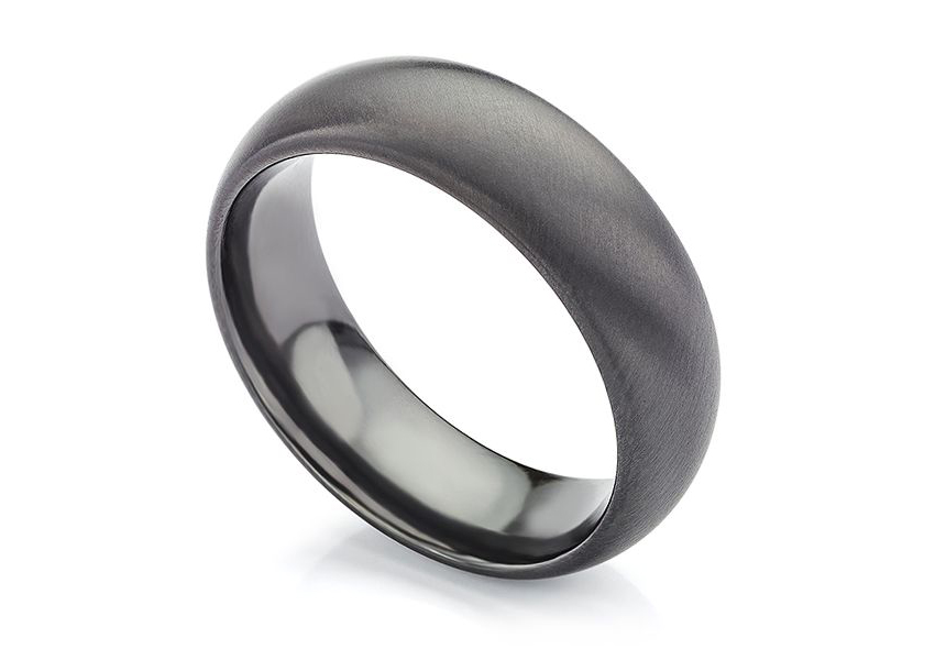 Matte Black Wedding Ring Raven Design