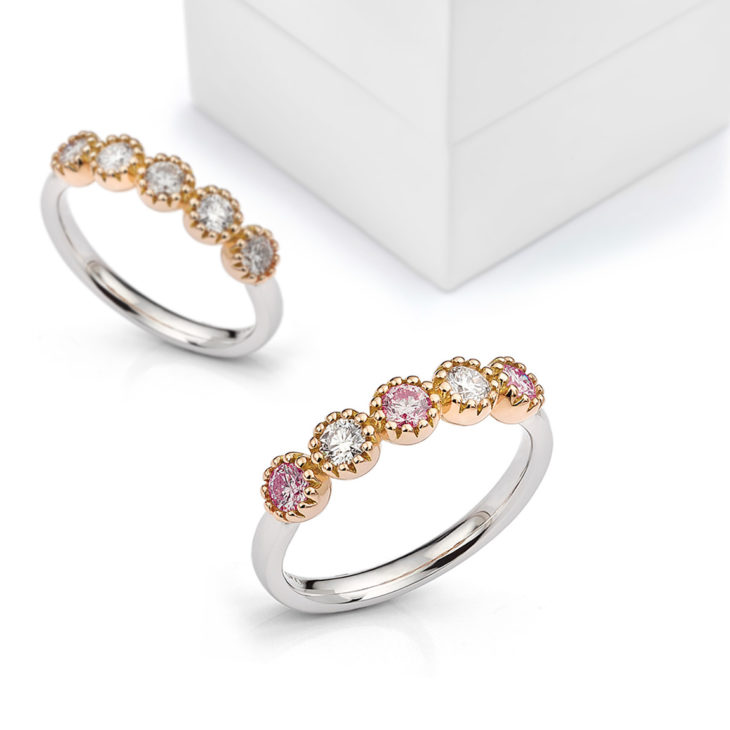 Two diamond rings with rose gold settings