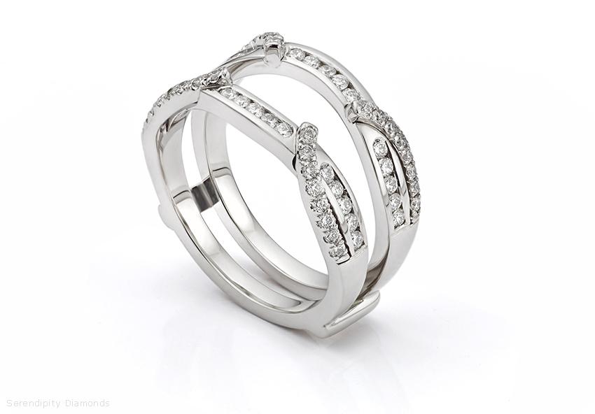 Double enhancer diamond wedding ring