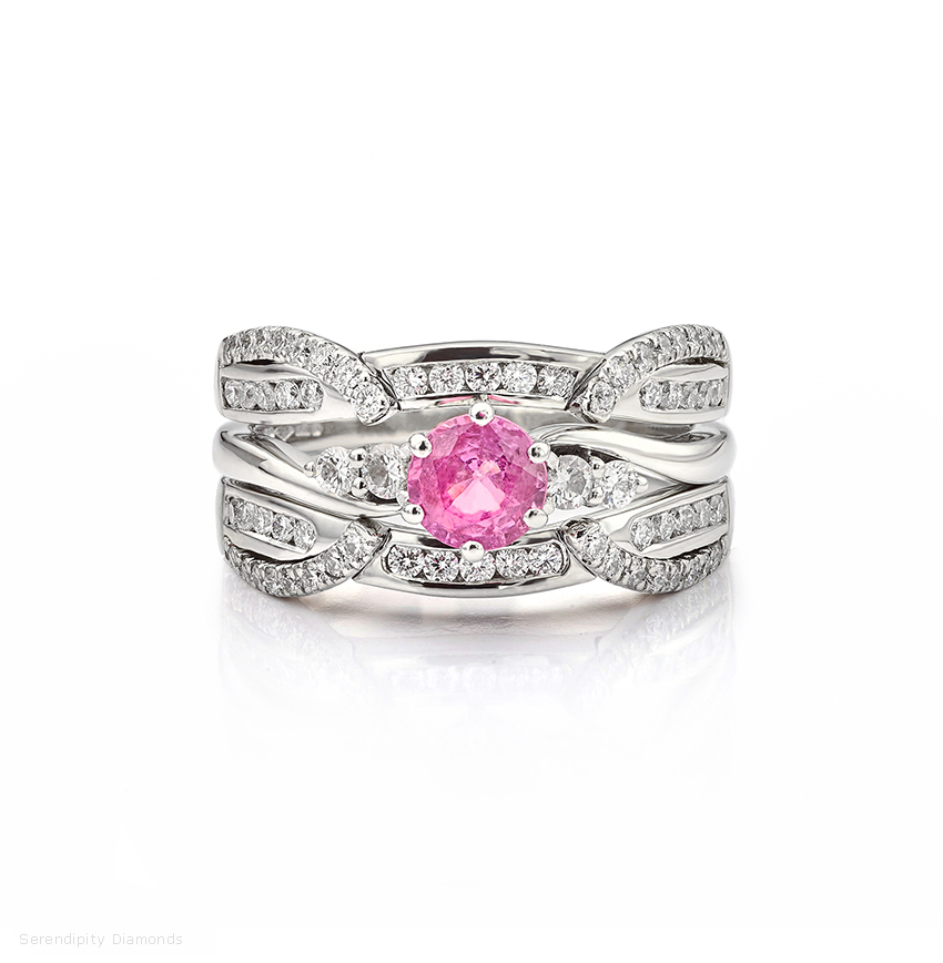 Enhancer wedding ring with pink sapphire and diamond engagement ring