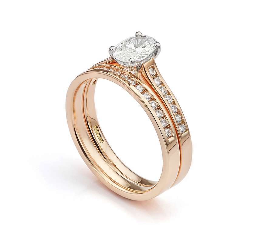 Matching bridal wedding ring set