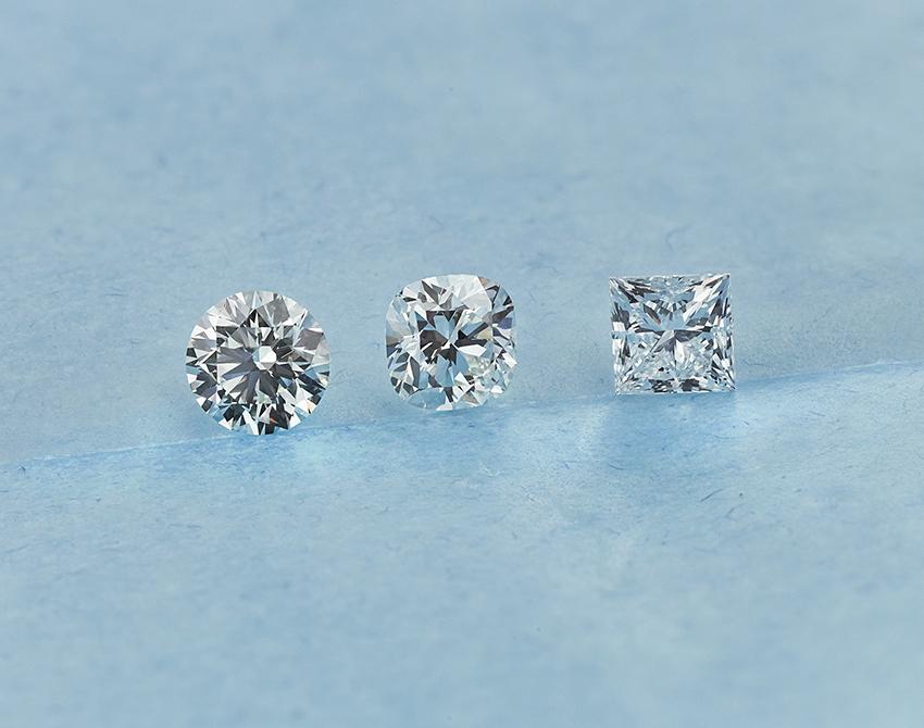 0.70cts Round vs Cushion vs Princess Cut Diamonds Compared