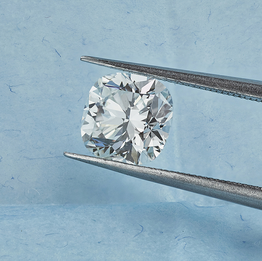 Close up of a Cushion cut 0.70ct diamond
