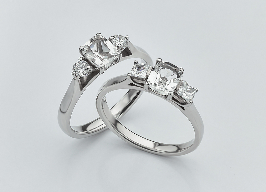 Three stone cushion cut engagement rings - Cushion and Princess 3 Stone and Cushion and round three stone