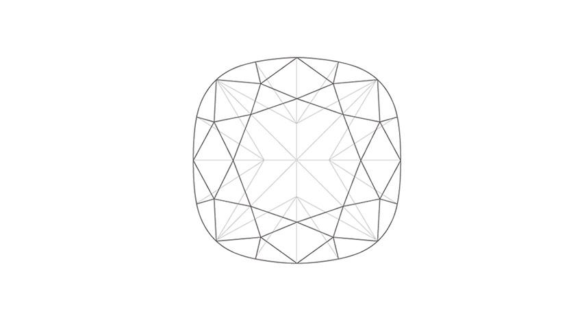 Cushion cut diamond line drawing