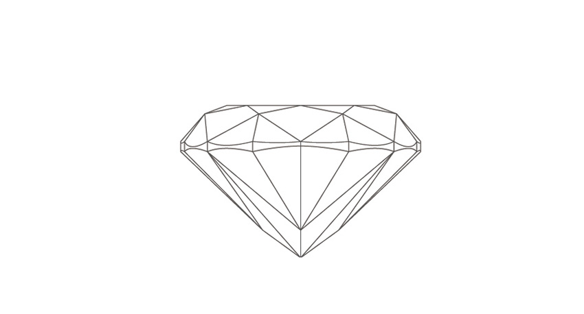 Cushion cut diamond side view