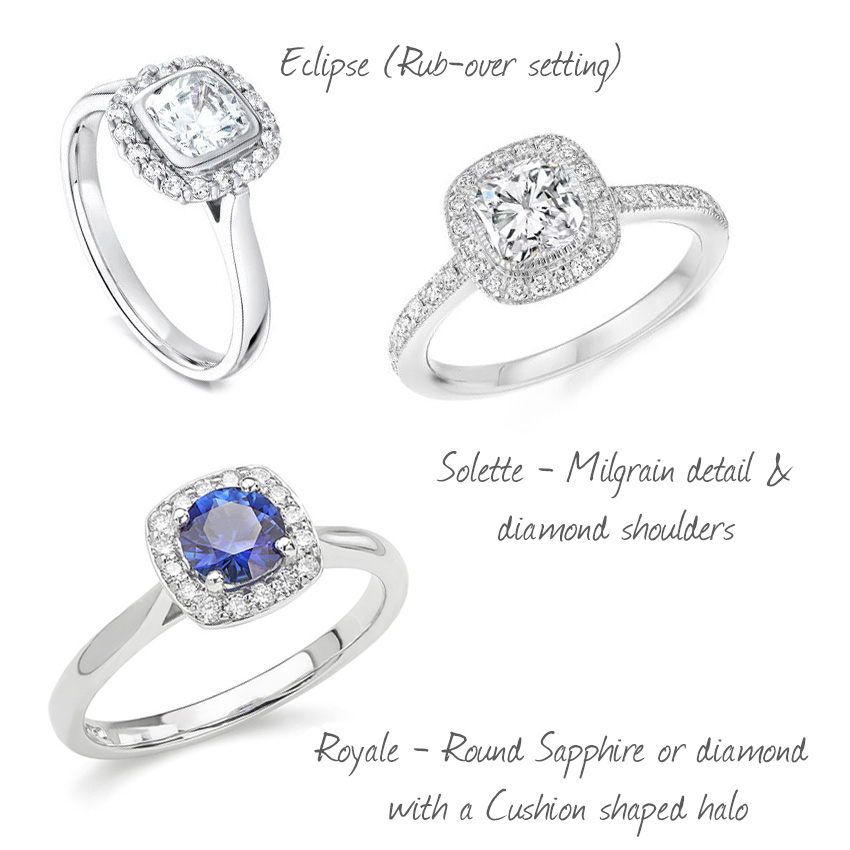 Examples of cushion cut diamond engagement rings