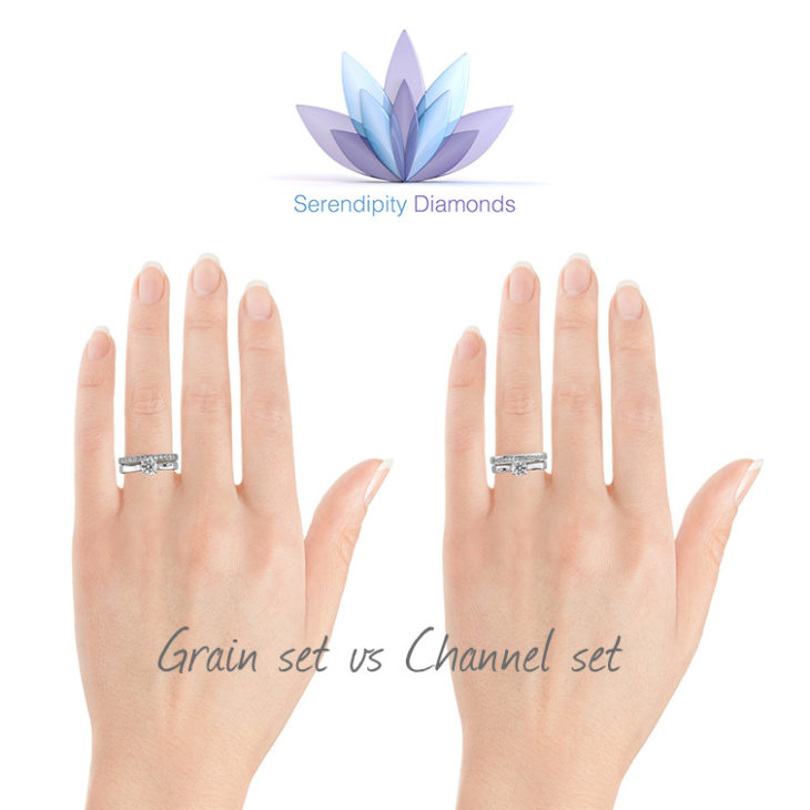 Diamond eternity and wedding rings - channel set vs grain set rings