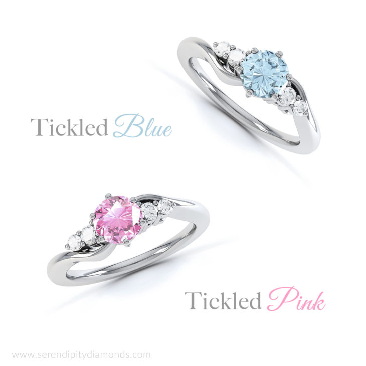 Tickled Blue Engagement Ring Alongside Tickled Pink Ring