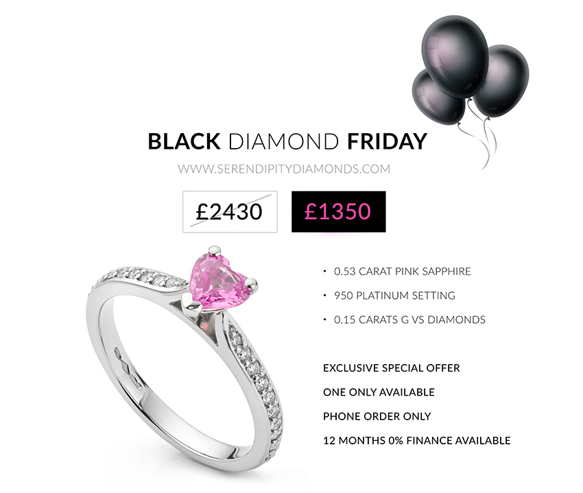 Black Friday Pink Sapphire engagement ring exclusive