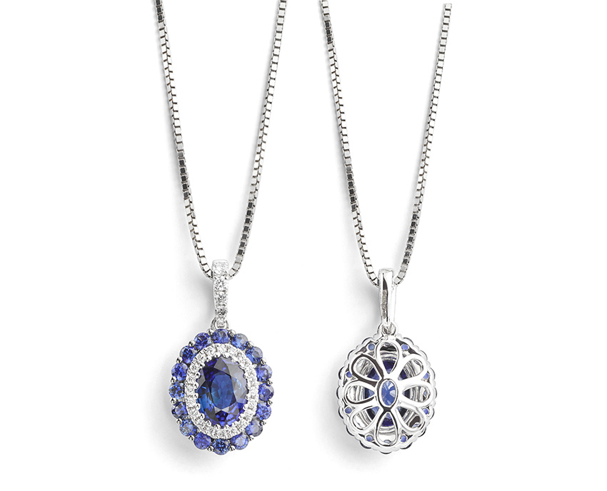 Black Friday Blue Sapphire and Diamond Necklace