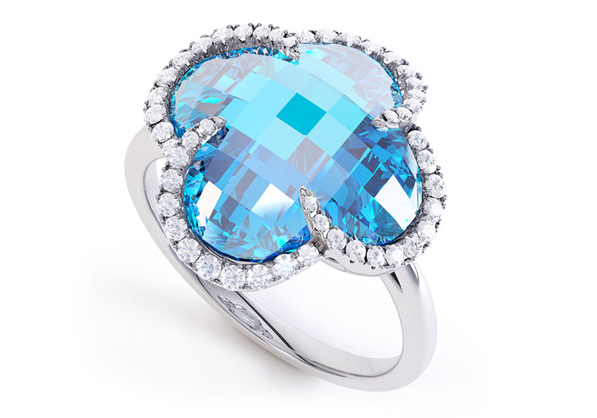 Blue Topaz diamond dress ring