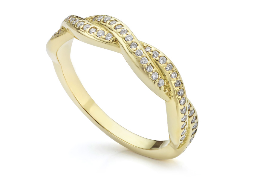 Interwoven diamond eternity ring in yellow gold