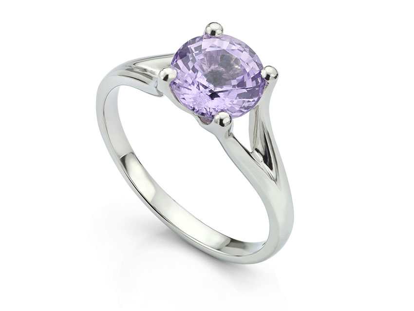 Purple Spinel Engagement Ring in Platinum.