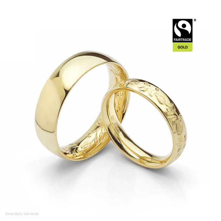 Fairtrade Gold Wedding Rings with Leaf Hand Engraved Pattern